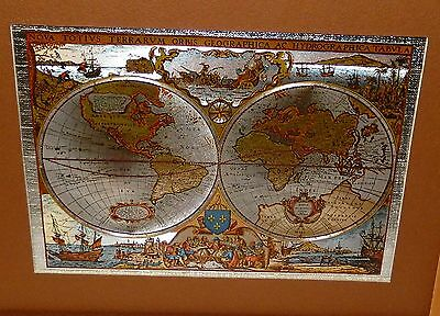 Nova Totivs Terrarvm Orbis Silver & Gold Foil Small Map Of The World