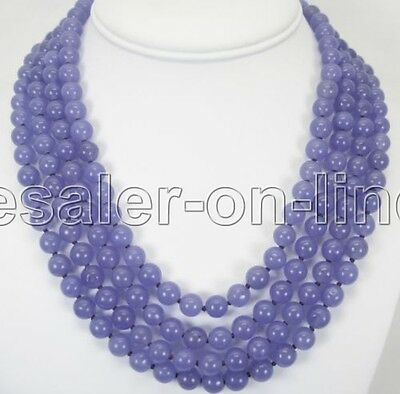Jewelry Fashion Lady's 4 Rows Natural 8mm Lavender Jade Necklace Hot New