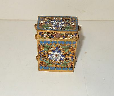 Chinese Cloisonne Open Enamel Small Inro Canister Jar Box