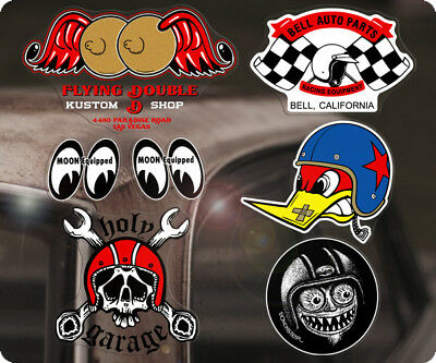 7x Stück Sticker Aufkleber Hot Rod NHRA MOONEYES Old School Autocollante MOON S4
