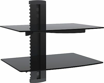 1home 2 Tier Black Floating Shelf Glass for DVD Players Games Consoles Sky Box