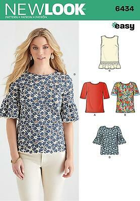 New Look Sewing Pattern Misses' Top Tops Size 10 - 22  6434