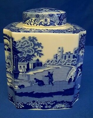 Spode Blue Italian Tea Or Coffee Bean Caddy Storage Jar - New Best Quality