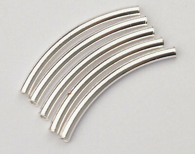 925 Sterling Silver 10 Curve Beads 2x25 mm.