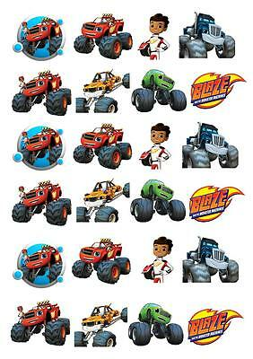 24 Blaze And The Machines  STAND UP Cupcake Cake Topper Edible Paper Decoration