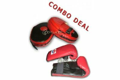 Splay Boxing Focus Pads + Sparing Gloves Fighting Mitts Guard Bag Muay