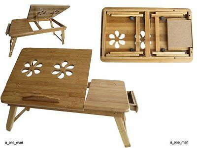 Portable Bamboo Laptop Notebook Computer Desk Bed Tray Stand Table UK