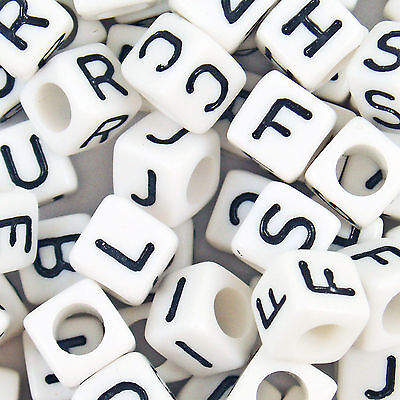 500 Mixed Acrylic White ALPHABET Letter Cube Beads 6mm