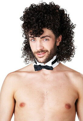 Curly Mullet Styled Brown Hair Wig Halloween Costume Accessory Adult Men