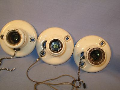 "Lot of 3 Porcelain Pull Chain Light Fixtures for 3"" Boxes /   FA 234"