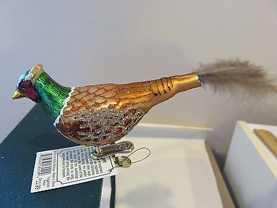 Pheasant Clip Old World Christmas  glass ornament