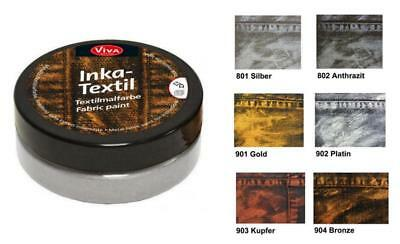 INKA TEXTIL 50 ml neue Textilfarbe VIVA-DECOR mit METALLIC-Effekt (12,50€/100ml)