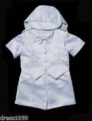Boys  Infant Toddler Christening Baptism White Outfit S Sz: Small to 4T