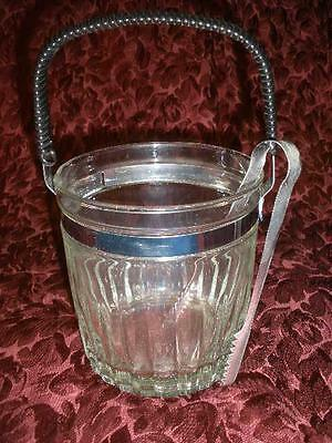 Stunning Retro  Glass Ice Bucket With Woven Handle And Tongs