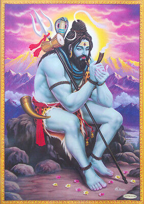 """LORD SHIVA Relaxing at Kailash - POSTER (Normal Paper 11""""x15"""")"""