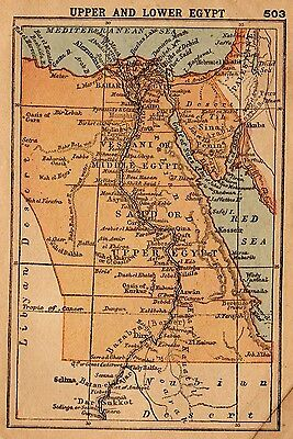 1902 Antique EGYPT Map RARE MINIATURE Map of Egypt Gallery Wall Art 2754