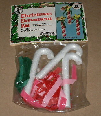 "1980 Holiday Industries ""Peppermint Sticks"" Beaded Christmas Ornaments Kit NIP"