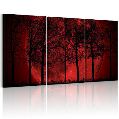 Big Red Moon Framed Canvas Print Abstract Wall Art Painting Picture Decor