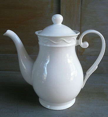 """LOVELY WHITE PORCELAIN  5 Cup Teapot, Coffee Pot, Emblem and """"China"""""""