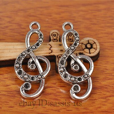 40pcs 28mm Charms music & pendant Diy Jewelry Tibet Silver Lover necklace A7228