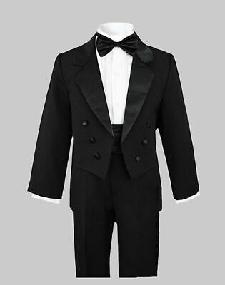 BOYS RECITAL, RING BEARER TUXEDOS With TAILS, BLACK, 2T to 20