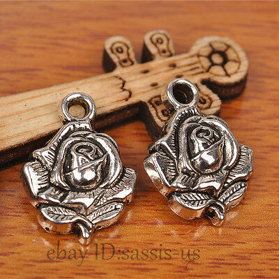 30pcs 20mm Charms Rose Flower Pendant Tibet Silver DIY Jewelry Charm Bail A7233