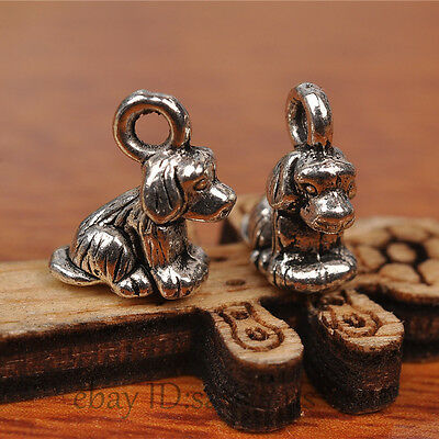 50pcs 10mm Charms Papillon 3D Dog Tibet silver pendant Diy Jewelry Making A7240