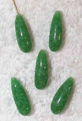 Vintage Mottled Jade Glass Briolette Jewelry Drops Findings 10 Pcs-Green-