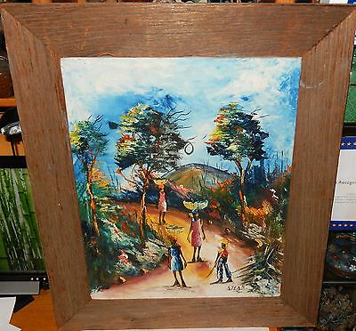S.jean Original Oil On Canvas Haitian Carrying Fruit Painting