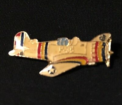 "Vintage Curtiss P-36 Hawk Fighter Plane Lapel Hat Pin 1 1/4"" x 1/2"" WW2 Era"