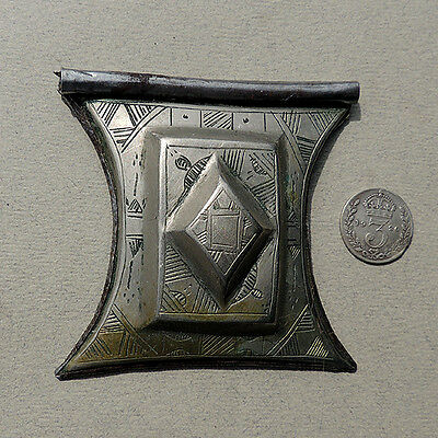 an old antique silver plated tuareg tcherot pendant amulet niger #7