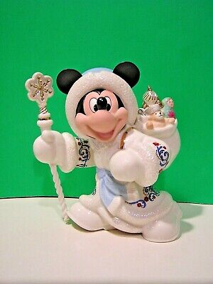 LENOX Disney MICKEY AS GRANDFATHER FROST SANTA sculpture NEW in BOX with COA