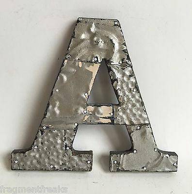 "Antique Tin Ceiling Wrapped 8"" Letter 'A' Patchwork Metal Mosaic Silver E10"