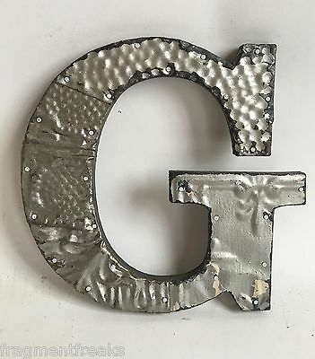 "Antique Tin Ceiling Wrapped 8"" Letter ""G"" Patchwork Metal Mosaic Silver E12"