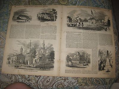 Large Antique 1855 Elizabeth New Jersey Print 6 Fine City Views Port W Text Nr