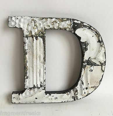 """Antique Tin Ceiling Wrapped 8"""" Letter 'D' Patchwork Metal Mosaic White E16"""