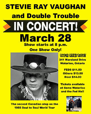 Stevie Ray Vaughan - Concert Poster (1985), 8x10 Photo