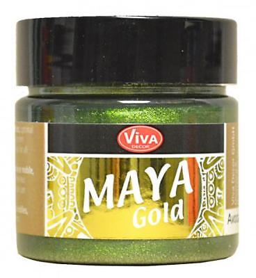 MAYA GOLD Farbe  Metallic-Effektfarbe VIVA DECOR 50 ml ***NEU*** AVOCADO 706