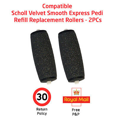 Two (2) Compatible Scholl Velvet Smooth Express Pedi Refill Replacement Rollers