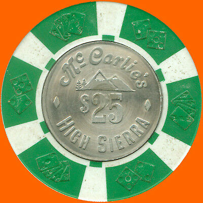 Mccarlies High Sierra $25 1977 Casino House Chip Sparks Nv - Free Shipping