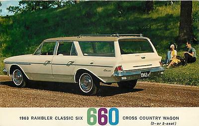 AMC  1963  RAMBLER Classic Six  660  Cross Country Wagon  Advertising  Postcard