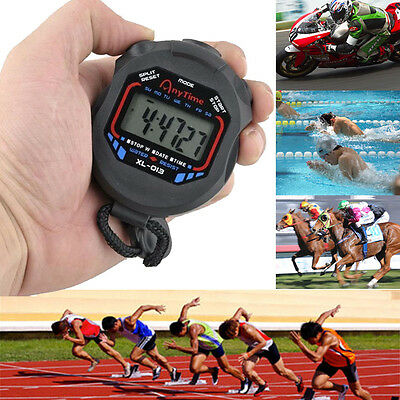 Handheld Digital LCD Chronograph Sports Counter Stopwatch Timer Stop Watch Black