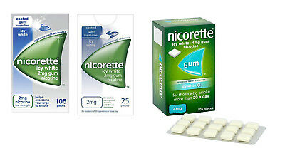 Nicorette Icy White Chewing Gum 2mg/4mg (Choose Your Product)