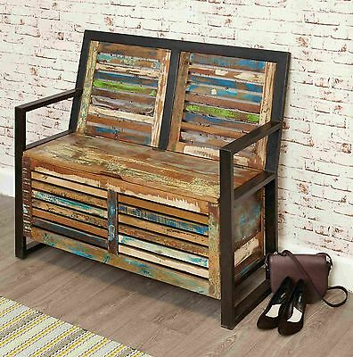 Urban Chic reclaimed wood indian furniture hallway shoe storage seating bench