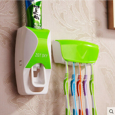 Wall Bathroom Automatic Auto Toothpaste Dispenser Squeezer Tooth Brush Holder