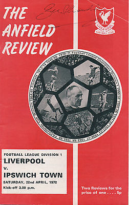 LIVERPOOL v IPSWICH TOWN 1972 programme signed BILL SHANKLEY