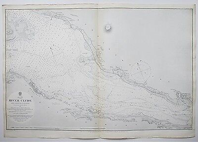1880 Scotland River Clyde Greenock To Dumbarton Antique Admiralty Chart Map