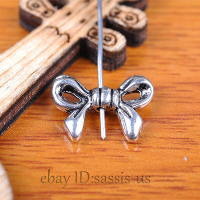 100pcs 14mm Charms bowknot bow tie Spacer Beads Tibet Silver DIY Jewelry A7356