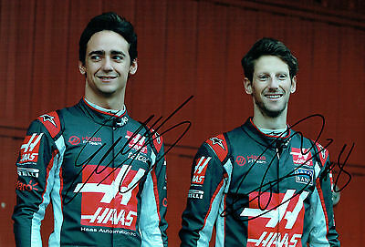 Romain GROSJEAN & Esteban GUTIERREZ Double SIGNED HAAS Photo AFTAL COA Autograph