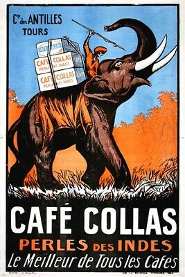 CAFE COLLAS vintage french ad poster INDIA the best of all COLLECTORS 24X36